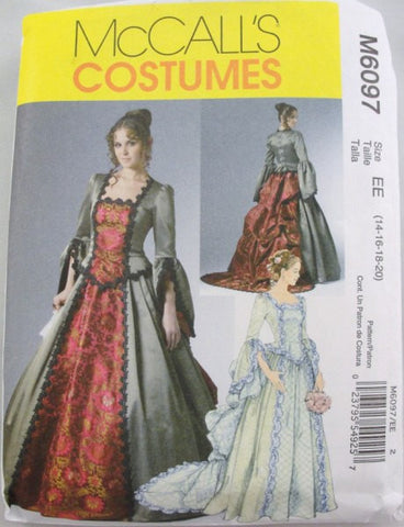 Victorian gown Adult Costume pattern McCalls 6097 sizes 14-20 - Patterns - Craft Supply House