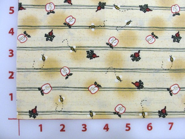 Leslie Beck apple fabric with stripes Heartland yardage - Fabric - Craft Supply House