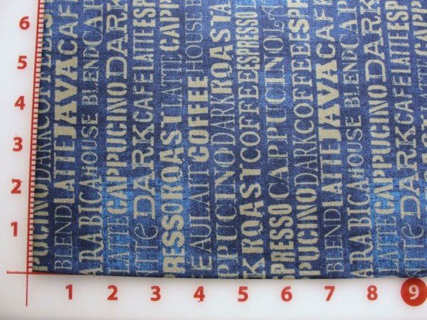 Blue coffee print espresso cappuccino latte, coffee theme fabric, fabric yardage - Fabric - Craft Supply House