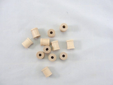 small wooden spools