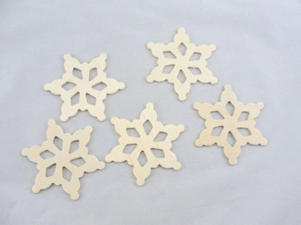 "Wooden snowflake unfinished DIY 3 1/2"" set of 5 - Wood parts - Craft Supply House"