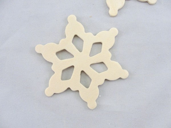 "Wooden snowflake unfinished DIY 3 1/2"" set of 5"