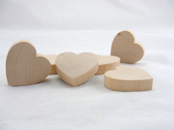 "6 Chunky wooden hearts 2 inch (2"") wide 1/2"" thick - Wood parts - Craft Supply House"