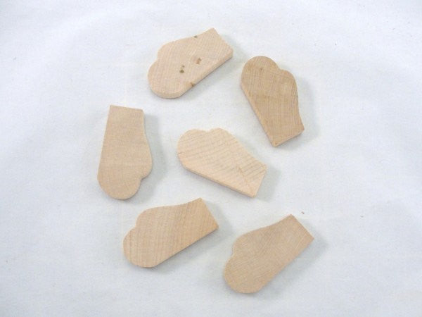 Mittens cutout unfinished DIY set of 6 - Wood parts - Craft Supply House