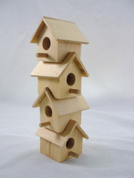 Wooden stacking birdhouse unfinished - Wood parts - Craft Supply House