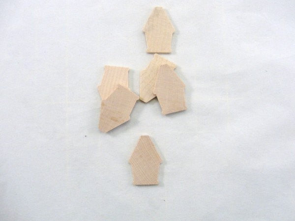 Miniature thin wooden Lark birdhouse set of 6 - Wood parts - Craft Supply House