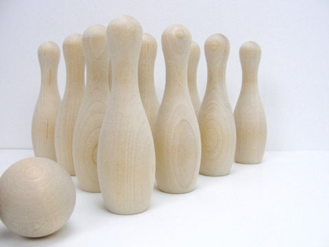 "DIY bowling game, 5"" wooden bowling pins - Wood parts - Craft Supply House"