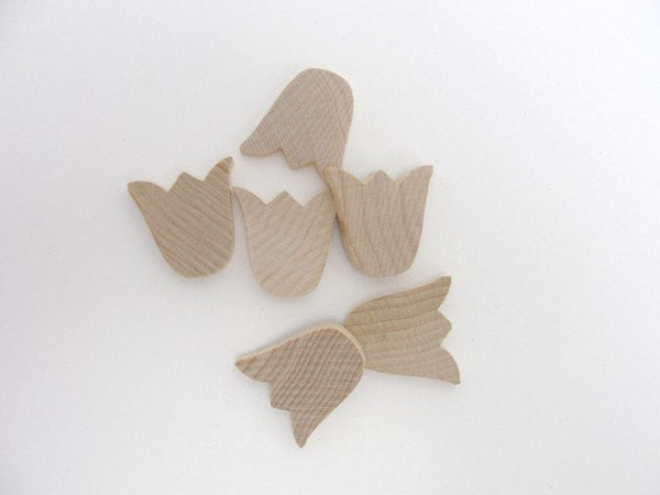 Tulip cutout wood diy unfinished set of 6 - Wood parts - Craft Supply House