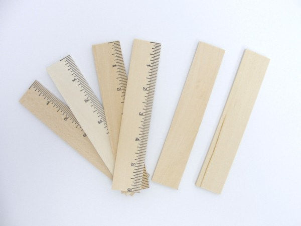 "6"" ruler wood part, unfinished ruler, DIY ruler wood set of 6"