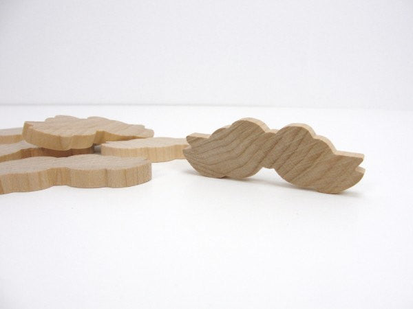 Wooden mustache, wooden bow, set of 6 - Wood parts - Craft Supply House