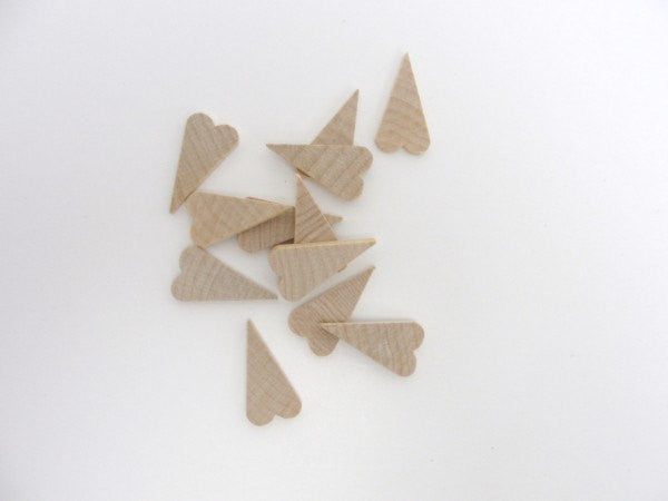 "12 Small primitive wooden heart 1 inch (1"") tall 1/8"" thick DIY unfinished wood hearts - Wood parts - Craft Supply House"