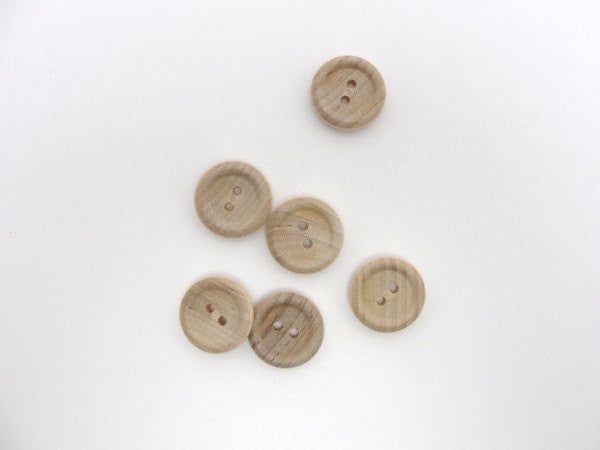 "Wooden button 3/4"" unfinished DIY set of 6"