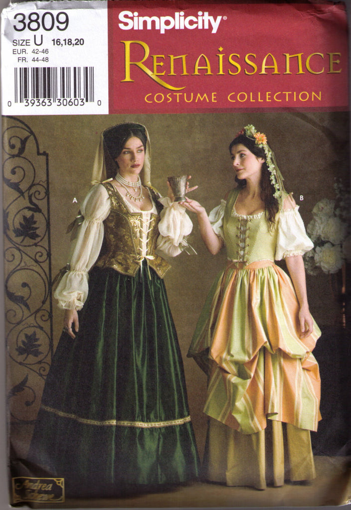 Renaissance Costume pattern Simplicity 3809 Adult sizes 16, 18, 20 - Patterns - Craft Supply House
