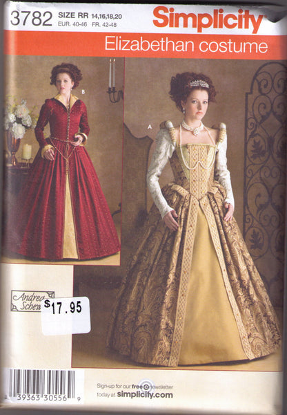 Elizabethan Costume pattern Simplicity 3782 Adult sizes 14, 16, 18, 20