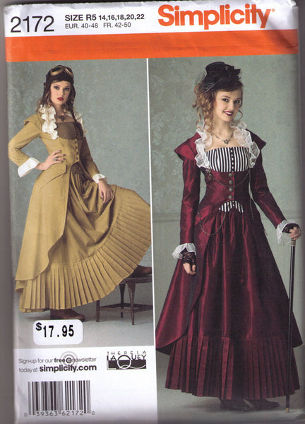 Steampunk coat bustier skirt pattern Simplicity 2172 Adult sizes 14, 16, 18 20, 22 - Patterns - Craft Supply House