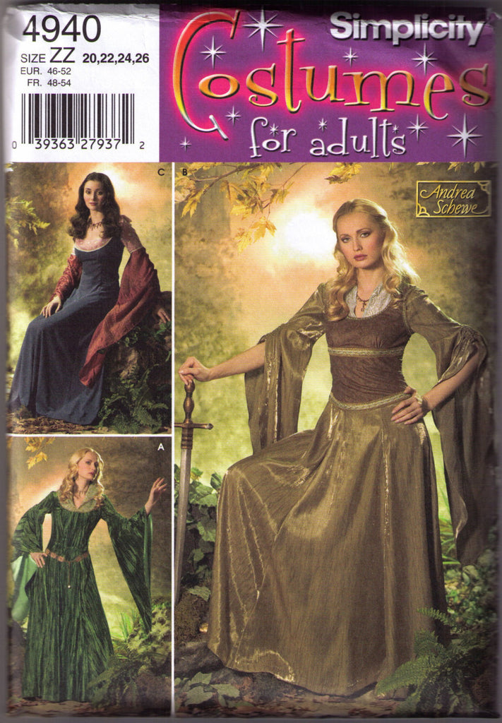 Medieval Renaissance Costume pattern Simplicity 4940 Adult sizes 20, 22, 24, 26 - Patterns - Craft Supply House
