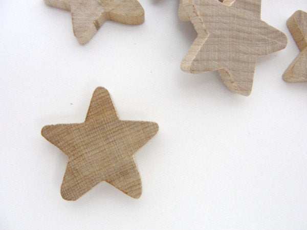 "Traditional wooden stars 1 inch (1"") x 3/16"" thick set of 12 - Wood parts - Craft Supply House"