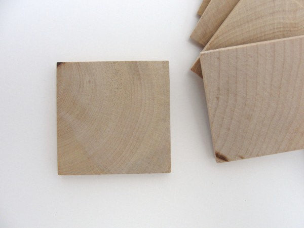 "Wooden square tiles 2 inch (2"") by 1/4"" thick - Wood parts - Craft Supply House"