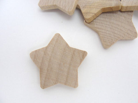 "Rounded wooden stars 1 3/8 inch (1 3/8"") unfinished DIY set of 12 - Wood parts - Craft Supply House"