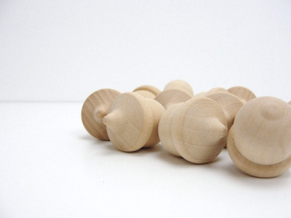 Lifesize Wooden acorns set of 12 Unfinished DIY - Wood parts - Craft Supply House