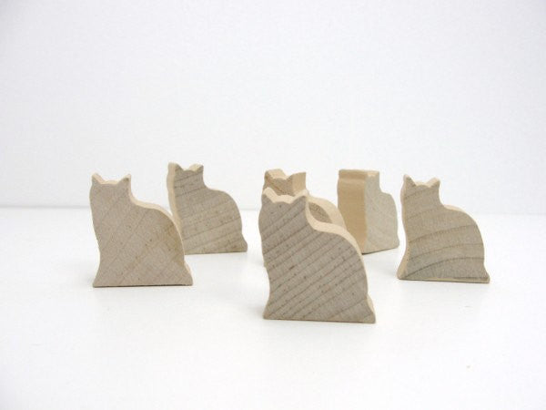 Wooden cat cutout set of 6 - Wood parts - Craft Supply House