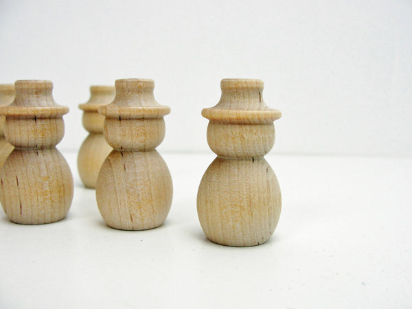 "Miniature turned wooden Snowman 1 1/2"" tall set of 6 - Wood parts - Craft Supply House"