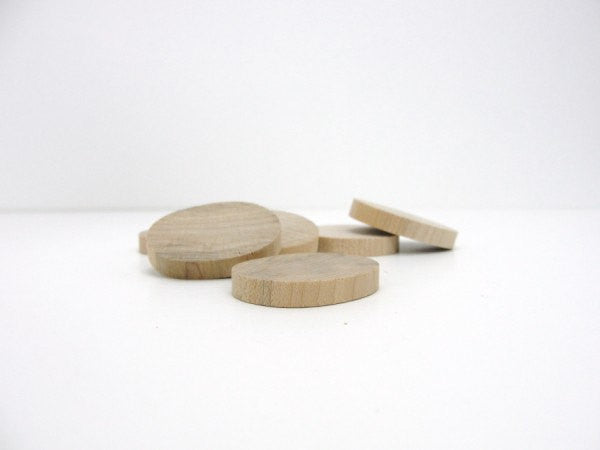 "Small oval wooden disc 1 1/4 inch (1 1/4"") unfinished DIY set of 12 - Wood parts - Craft Supply House"