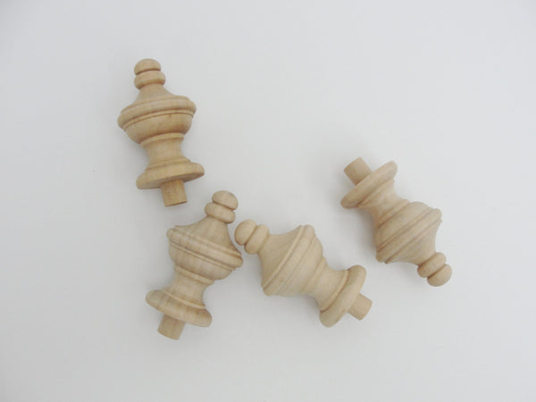 Wooden finial set of 4 - Wood parts - Craft Supply House