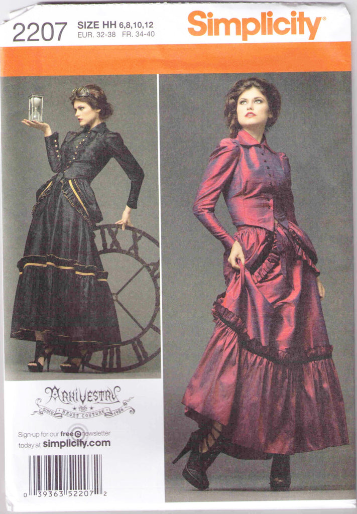 Jacket, skirt, bustle, Steampunk Adult Costume pattern Simplicity 2207size 6-12 - Patterns - Craft Supply House