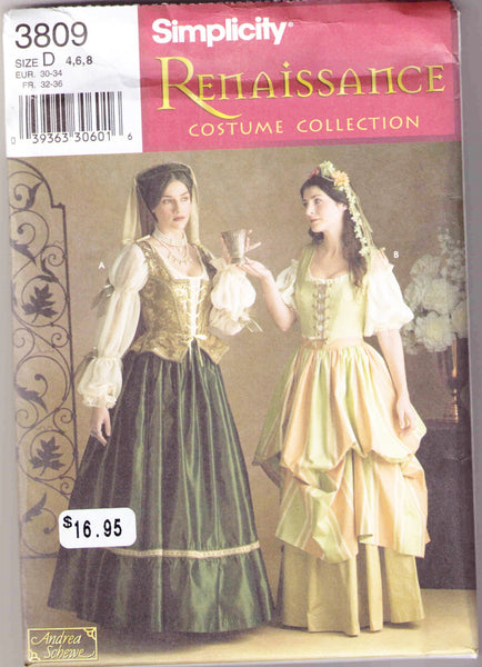 Renaissance Costume pattern Simplicity 3809 Adult sizes 4, 6, 8 - Patterns - Craft Supply House