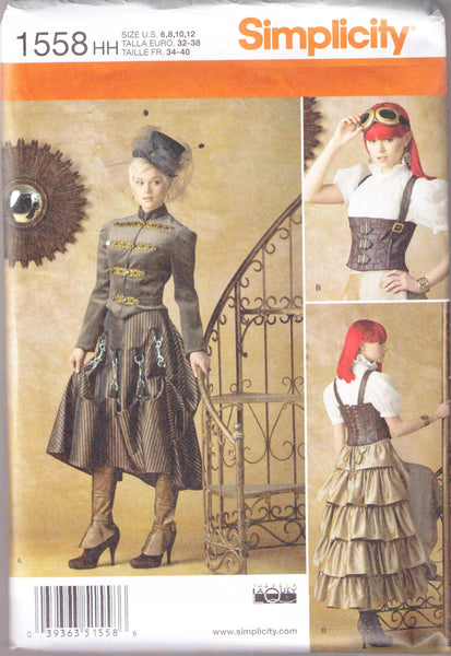 Jacket, Top, Skirt, Corset, Spat, Adult steampunk Costume pattern Simplicity 1558 size 6-12 - Patterns - Craft Supply House