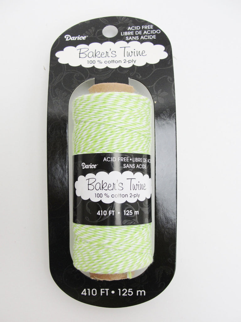 Lime green and white baker's twine, 410 feet, 136 yards - General Crafts - Craft Supply House