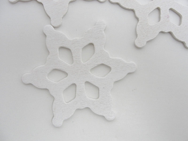 "White wooden snowflake small 2 1/2"" set of 5 - Wood parts - Craft Supply House"