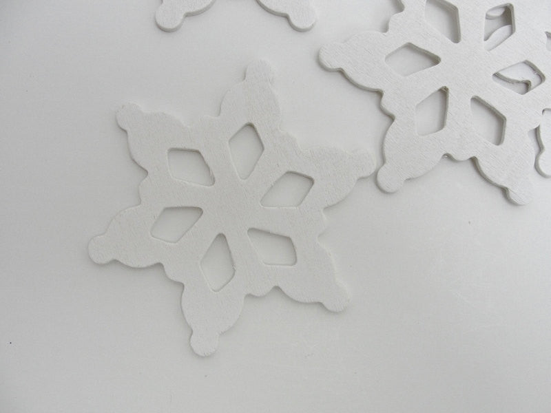 "Wooden snowflake white DIY  3 1/2"" set of 5"