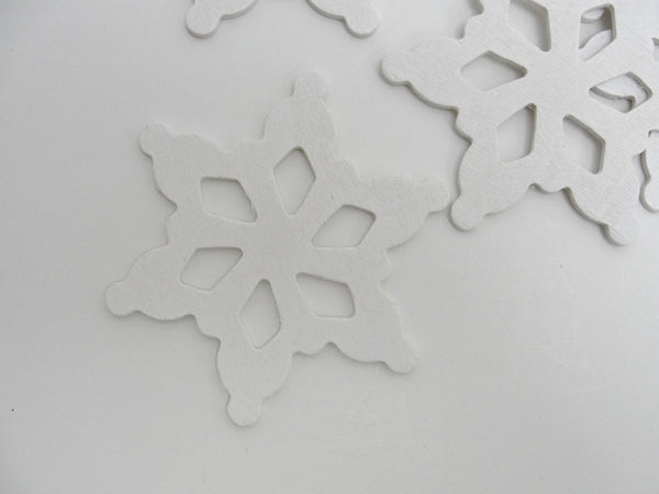 "Wooden snowflake white 3 1/2"" set of 5 - Wood parts - Craft Supply House"