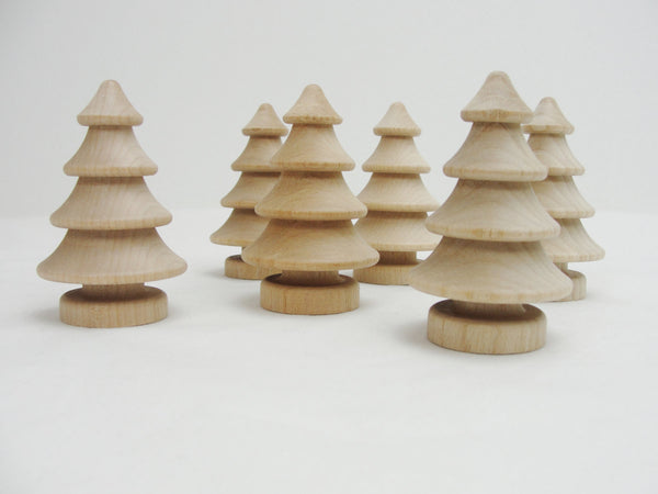 "Turned Wooden tree, Wooden 3 dimensional tree, 2 3/4"" tree,  DIY small tree, set of 6"