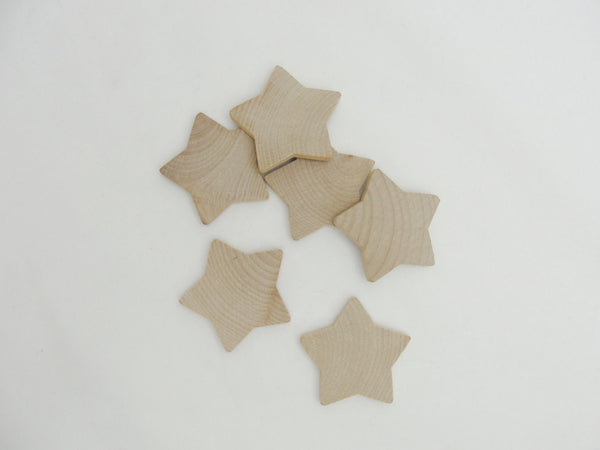 "6 Rounded wooden star 1 7/8 inch (1 7/8"") unfinished DIY - Wood parts - Craft Supply House"