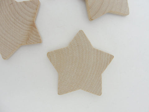 "Rounded wooden star 1 7/8 inch (1 7/8"") unfinished DIY set of 6 - Wood parts - Craft Supply House"