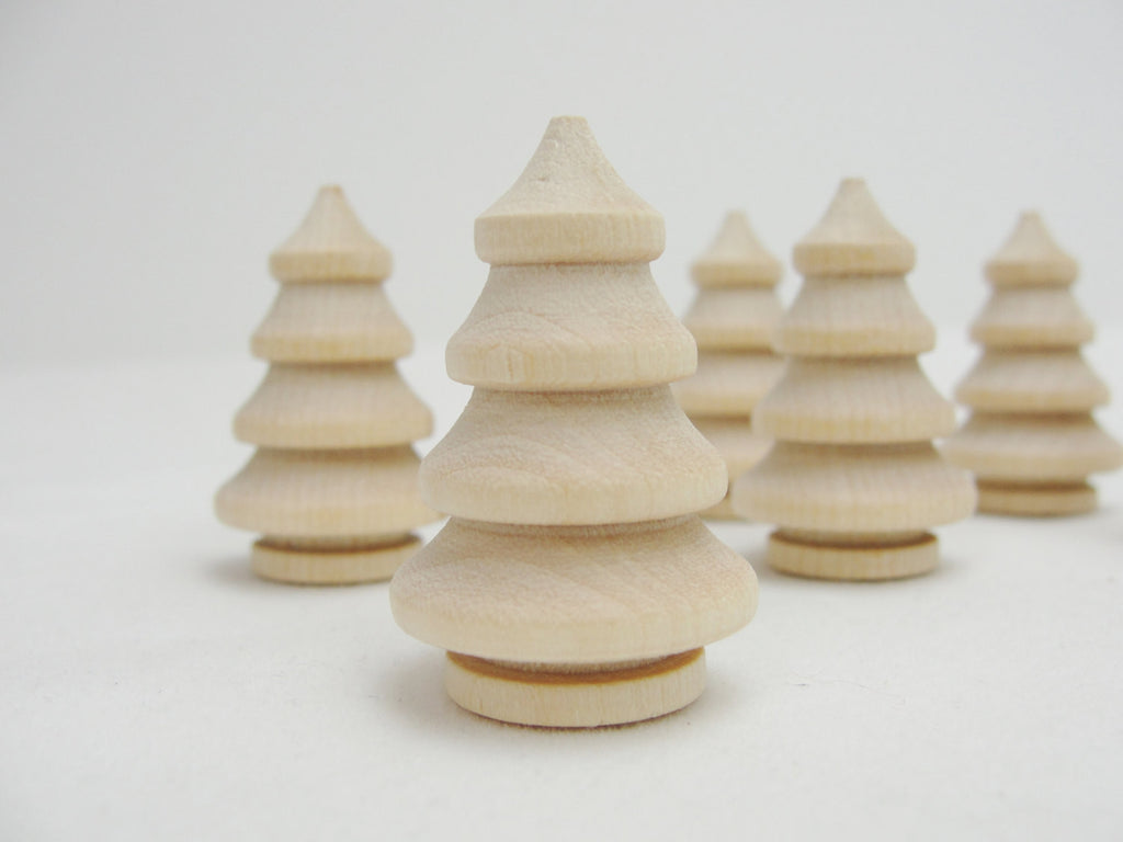 "Wooden turned 3 dimensional tree 1 3/8"" set of 6 - Wood parts - Craft Supply House"