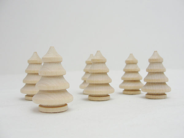 "Miniature wooden 3 dimensional tree, 1 3/8"" tree, mini turned wooden tree, diy Christmas tree, set of 6 - Wood parts - Craft Supply House"