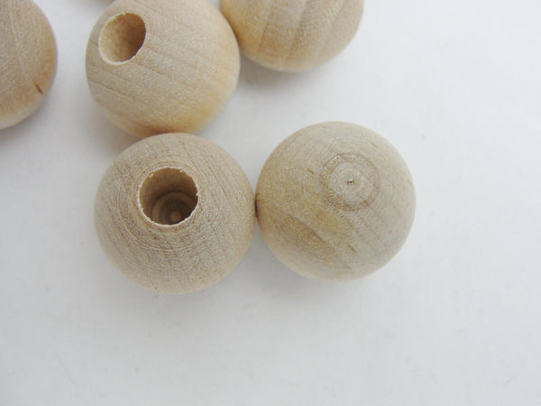"Wooden end cap ball 3/4"" (.75"") 20mm with 1/4"" hole set of 12 - Wood parts - Craft Supply House"