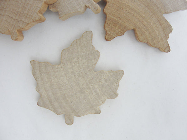 Large Wooden maple leaf cutout set of 6 - Wood parts - Craft Supply House