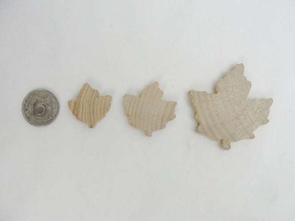 Small Wooden maple leaf cutout set of 6 - Wood parts - Craft Supply House
