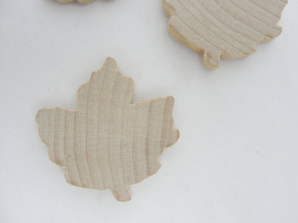 Medium Wooden maple leaf cutout set of 6 - Wood parts - Craft Supply House