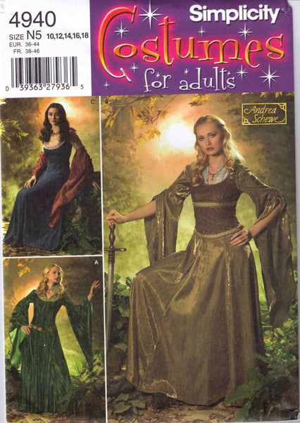 Medieval Renaissance Costume pattern Simplicity 4940 Adult sizes 10, 12, 14, 16, 18 - Patterns - Craft Supply House