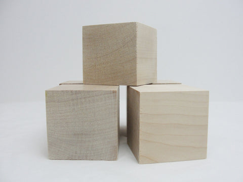 "2 1/2 inch wooden cube, 2 1/2"" wooden block, 2.5 inch unfinished wood cube, unfinished wood block Choose your quantity - Wood parts - Craft Supply House"
