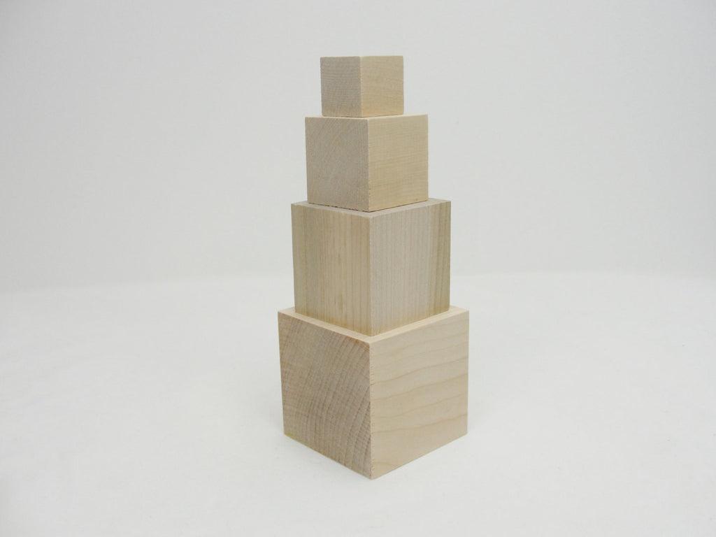 Stacking blocks, set of 4 blocks, wood cube, unfinished wood blocks 1 inch to 2.5 inches - Wood parts - Craft Supply House