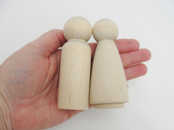"Large Wooden peg people man 3 1/2"" tall - Wood parts - Craft Supply House"