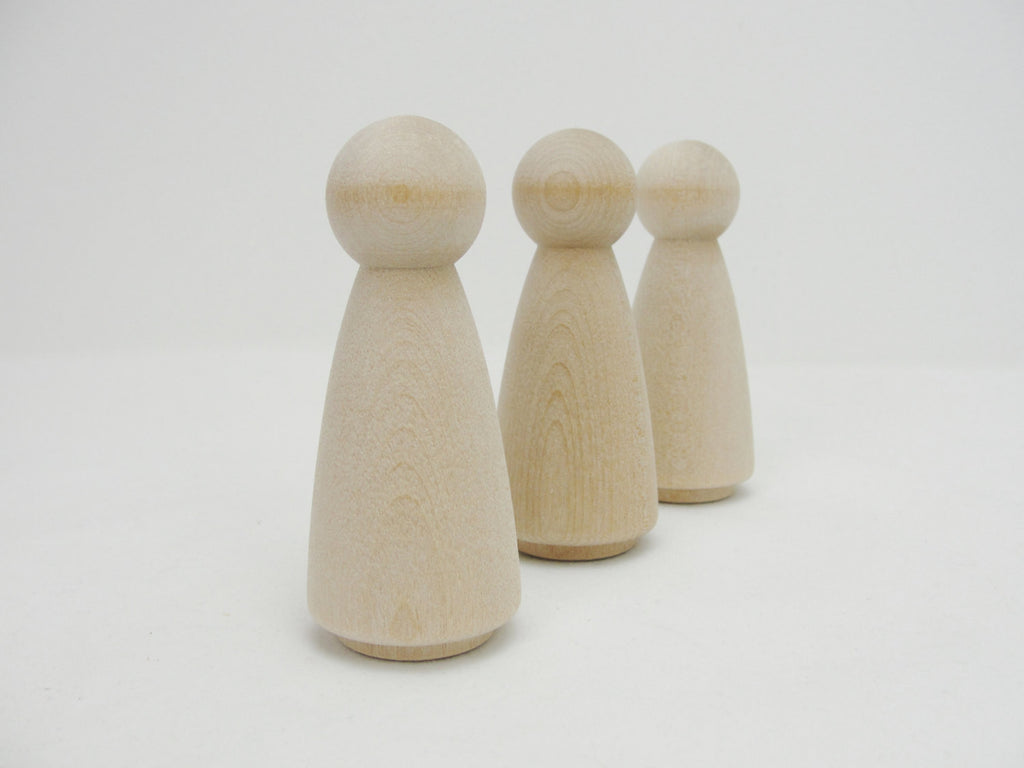 Large Wooden peg lady people unfinished DIY set of 3 - Wood parts - Craft Supply House
