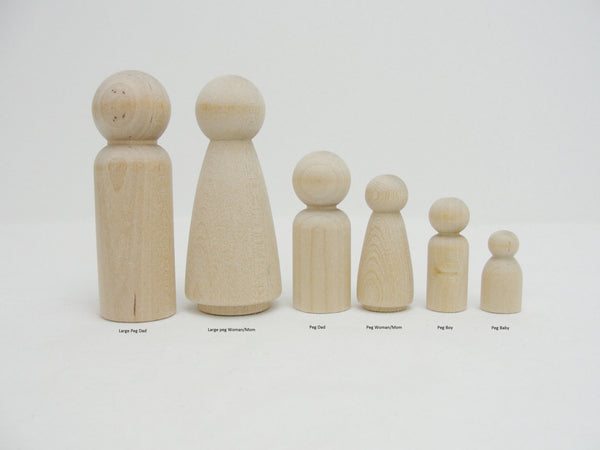 Wooden peg people boy set of 6 - Wood parts - Craft Supply House